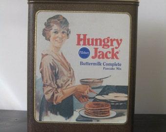 Vintage Pillsbury Hungry Jack Pancake Tin / Hungry Jack Advertising Tin / 1980's Hungry Jack Tin / Collectible Vintage Advertising Tin
