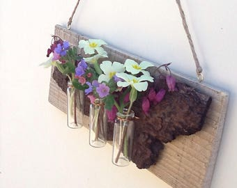 Hanging bud vases, Rustic bud vases, Recycled weather board and conifer bark bud vase decor.
