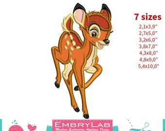 Applique Fawn Bambi. Machine Embroidery Applique Design. Instant Digital Download (17351)