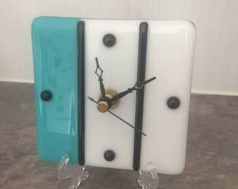 White and Blue Mini Desk Clock