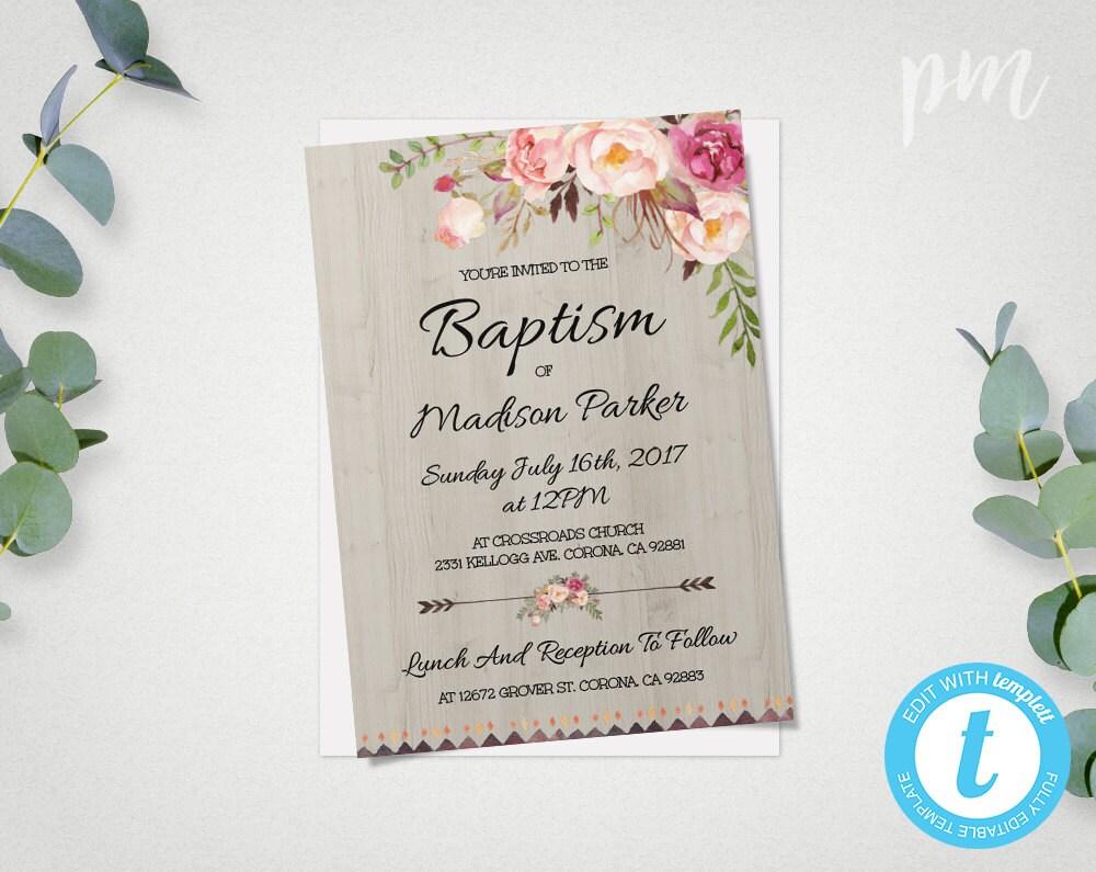 Printable Baptism Invitation Template Christening Invite