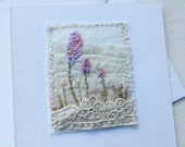 blank textile card, mini textile card, embroidered card, flowerbed card, flowers and lace, stitched card, textile art card