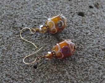 Brown Glass Earrings, Lampwork Earrings, Amber and Ivory Earrings, Western Jewelry
