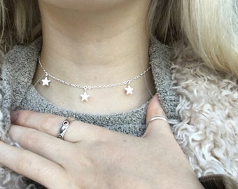 All Sterling Silver Stars Choker, Star Chain Choker,Layering Necklace.
