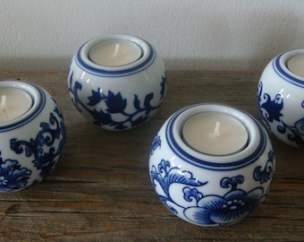 Set of Blue Bombay Tealight Votive Candle Holders