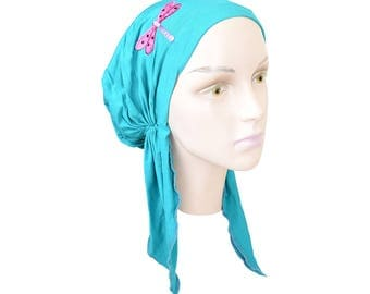 Women's Soft Headscarf Light Turquoise Modest Tichel Chemo Turban with Sequin Dragonfly Pretied Snood Womens Hair Loss Head Scarf