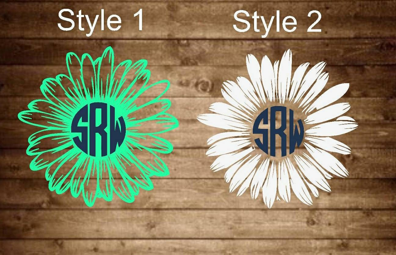 Monogram Daisy Decal Monogram Decal Monogram Yeti Decal
