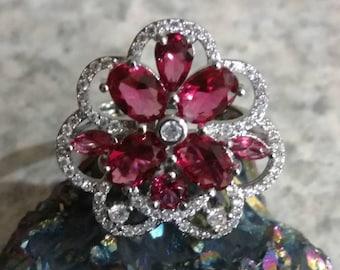 Pink Raspberry Rhodolite Garnet Ring Size 7