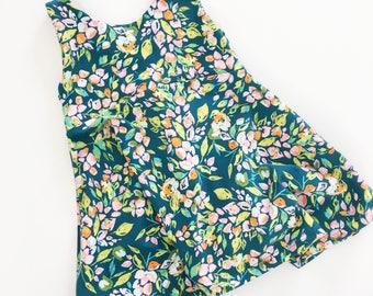 Teal Floral Dress / Baby Dress / Toddler Dress / Floral Dress / Macie and Me / Girls Dress