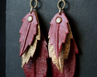 Leather Red Leaf Woman Earrings, Nature Sheet Jewelry, Petal Earrings, Leaf Petal Shaped Earrings