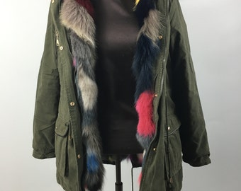 Luxury gift/Colorful fox  fur  Parka  /Hooded/ Wedding,or anniversary present