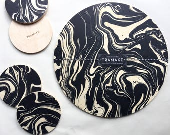 Marbled wood trivet / modern trivet/ large drink coaster/ centerpiece / plant plate / black and white / wine tray / table top / hostess gift