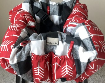 Black and White Buffalo Check Shopping Cart Covers, Restaurant High Chair Cover, Red Arrows Warehouse Shopping Cart Covers, Clean Carts