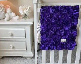Purple Roses Baby Blanket, Purple Baby Blankets, Leopard Toddler Blanket, Leopard Baby Blanket, Purple Roses Toddler Blanket