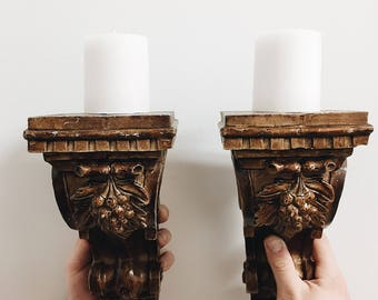 Vintage Corbels / Vintage Pair of Corbels / Vintage Wall Candle Holders