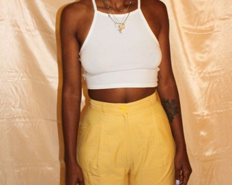 Vintage Plaid Italian designer high waisted yellow shorts