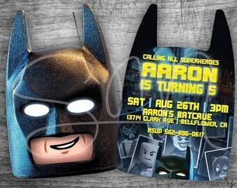 NEW E-vite Lego Batman Custom Birthday Invitations Digital gotham city joker harley quinn