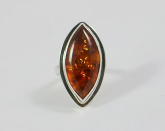 Baltic Amber Sterling Silver Adjustable size Ring
