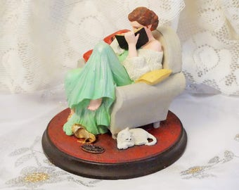 Norman Rockwell Figurine/The Diary/Beautiful Dreamers Collection/Cottage Chic Figurine/Norman Rockwell/Rhodes Studio/Rockwell Figurine