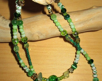 """18"""" ag doll/childs jewelry, dark and light green with fluorite chips necklaces,  childs green necklace,  OR purchase seperately"""