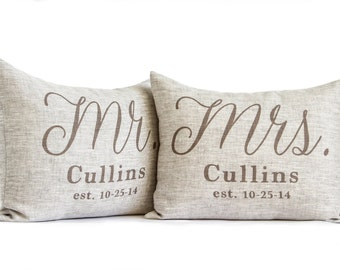 Rustic Wedding Gift, 2nd Anniversary, Housewarming, Mr and Mrs Pillows, 2 Year Anniversary, Gift For Her, Bedroom Pillows