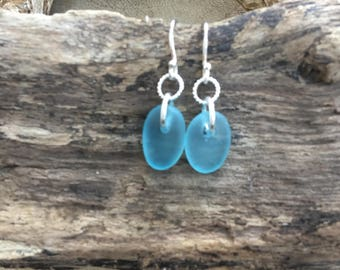 Pale Aquamarine Scottish sea glass sweetie earings with sterling silver fastening.