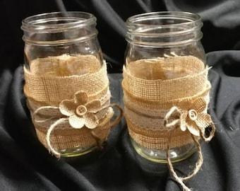 Rustic Burlap Mason Jars ~ Large
