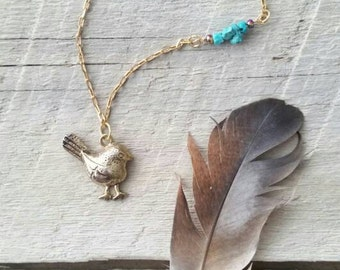 Tiny bird necklace with turquoise accent beads