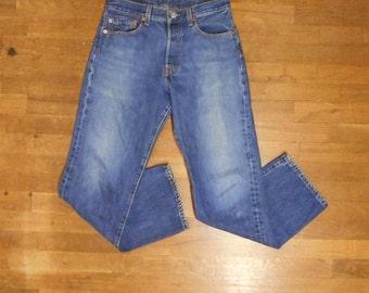 vintage 90s levis 501 XX silver tab dark wash denim blue indigo high waist jeans red tab 29 X 30