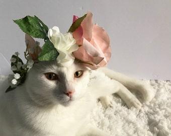 Cat Flower Crown  Cat Clothes, Handmade Flower Crown, Cat Apparel, Pink Flowers