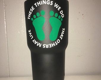 Powder coated green feet tumbler