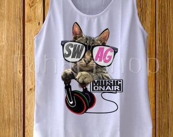 Cat Shirts, Galaxy Cat Shirt, Space Cat Shirt Women, Gifts for Women, Gift for her, Galaxy Print cat tank tops, workout women disney tshirt