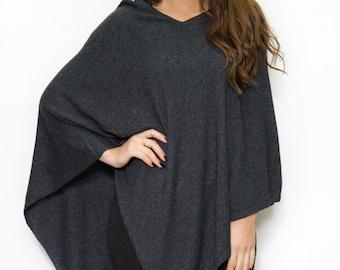 Handmade  Cashmere Poncho - CHARCOAL  color