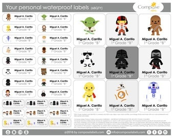 Star Wars - Your personal waterproof labels (68 Qty) Free Shipping