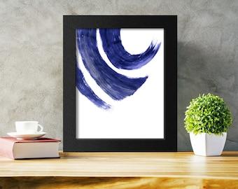 Printable Wall Art, Indigo Abstract Print, Blue Brushstrokes Art, Modern Decor, Digital Download
