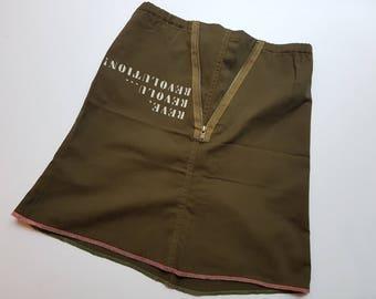 Vintage Army Military Revolution A-Line Skirt