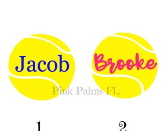 Tennis Sticker- Tennis Decal- Personalized Tennis Sticker- Tennis Team Gifts- Sports Sticker- Name Tennis Sticker- Tennis Yeti Decal