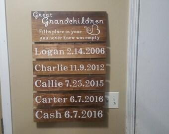 Great Grandchildren sign, Grandchildren fill a place in your heart you never knew was empty, grandparents sign, grandchildren birthdates