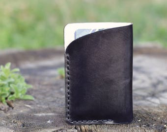 Leather card holder small cardholder leather card wallet handmade leather cardholder small credit card holder travel card case Free gift