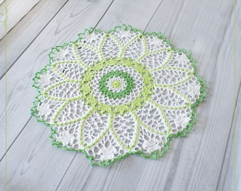 "Crochet doily in white and green tones, lace crochet doily 14,56"" , green doily"
