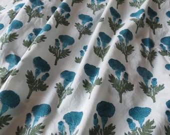 White and Sky Blue Floral Cotton Block Print Fabric