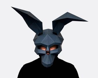 Rabbit Skull Mask, Halloween Mask, Halloween Costume, DIY printable skull mask, Instant Pdf download, Printable Mask,  DIY Polygon Masks