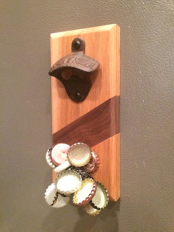 bottle opener w magnetic cap catcher by thenimblebarber on etsy. Black Bedroom Furniture Sets. Home Design Ideas