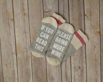 Wine Socks, If You Can Read This Bring More Wine, Novelty socks If you can read this socks, Beer Socks, Coffee Socks, Taco Socks, Bridesmaid