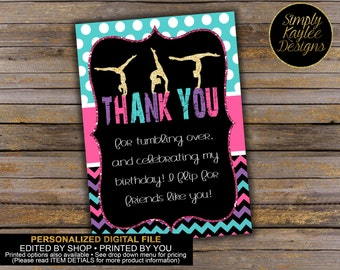 Gymnastics Thank You Favor Tags