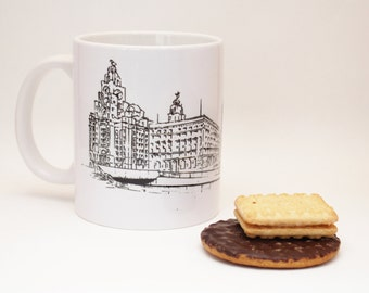 Liverpool Mug - Handmade - The Three Graces - line drawing - Liverpool Waterfront - hand printed mugs - Liverpool skyline - Liver Building
