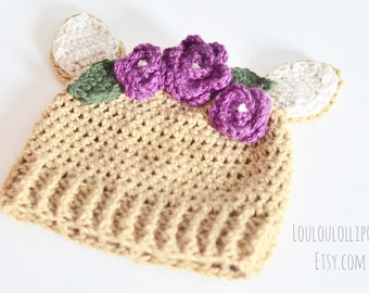Crochet Fawn Hat   baby deer hat, flower crown fawn beanie, fawn beanie with flowers, woodland animal hat, deer flower hat, flower beanie