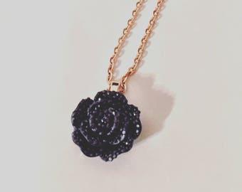 Black Rose Pendant Necklace - Rose Gold Chain