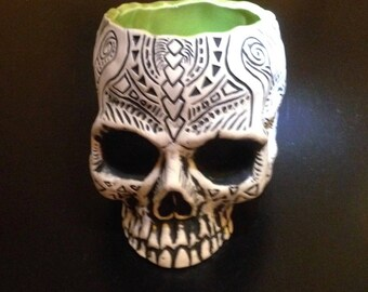 Shrunken Skull Tiki mug - lime green - limited edition