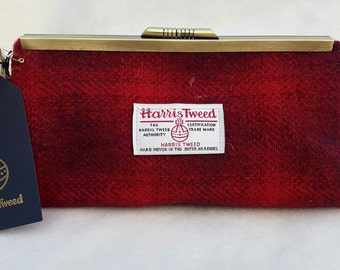 Harris tweed red check clutch bag